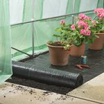 Picture of weed control membrane in a polytunnel