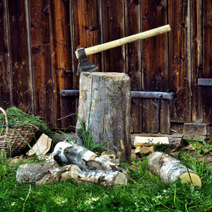 Picture of chopping firewood