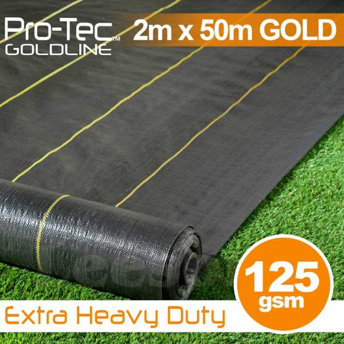 2m x 50m Extra Heavy Duty Weed Control Gold