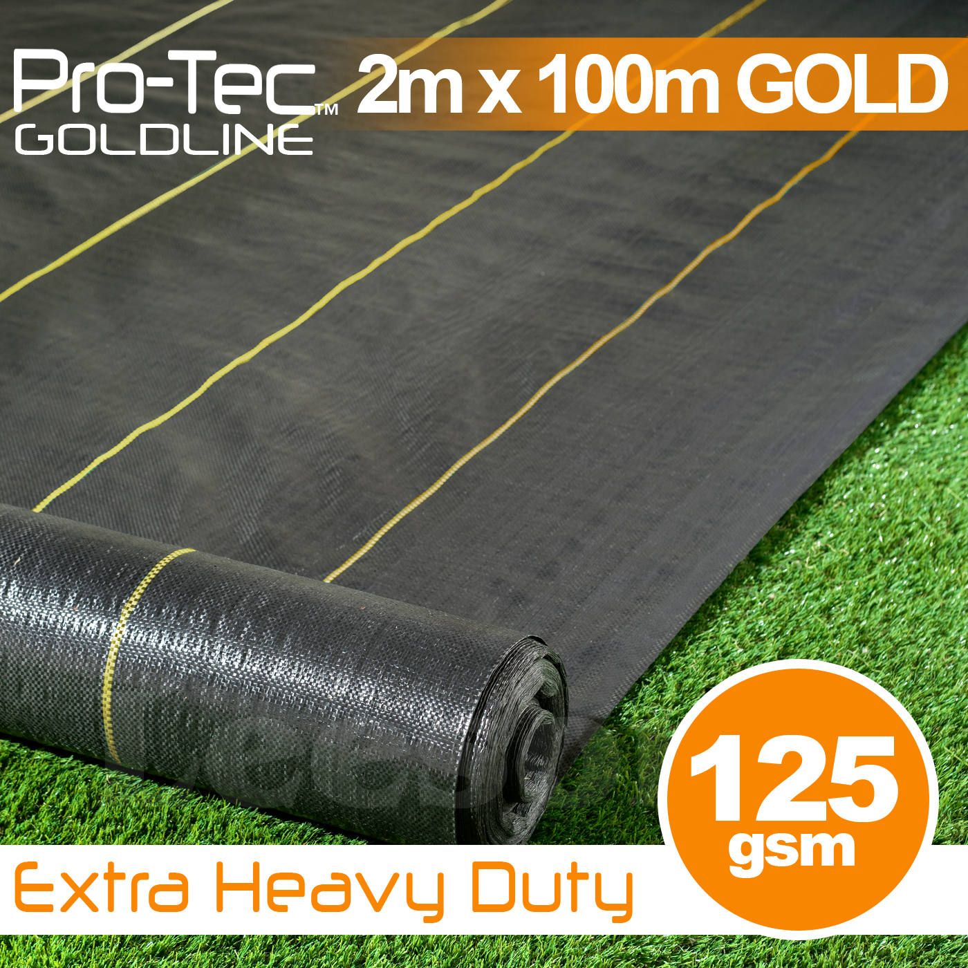 2m x 100m Extra Heavy Duty Weed Control Gold